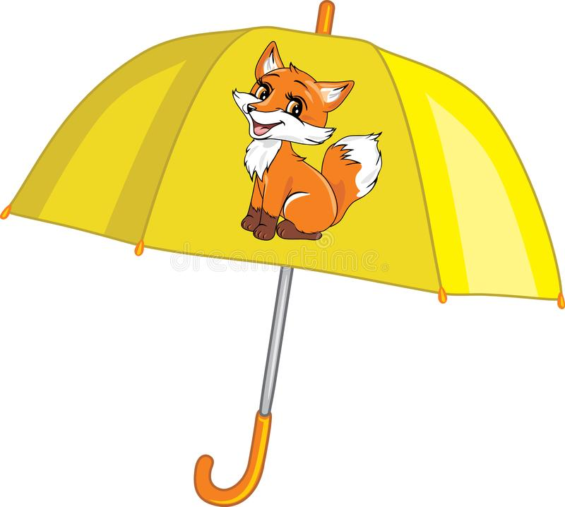 Cute yellow umbrella with fox stock photo