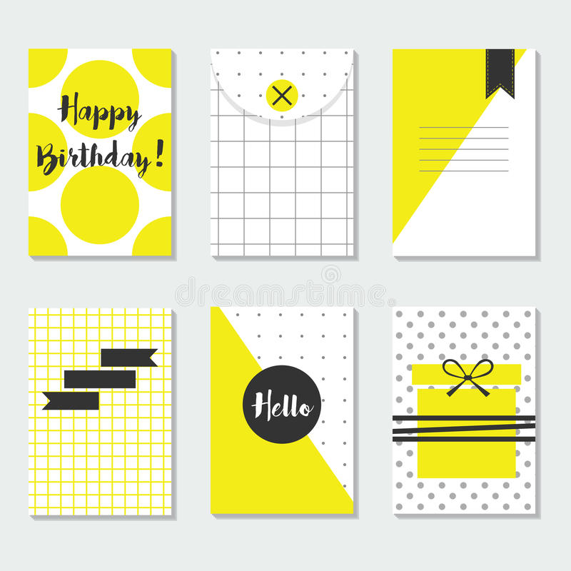 Cute yellow and white trendy patterns cards set with Happy Birthday, Hello, and black labels royalty free illustration