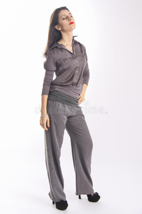 Cute young armenian girl in simple clothes dreaming royalty free stock photos