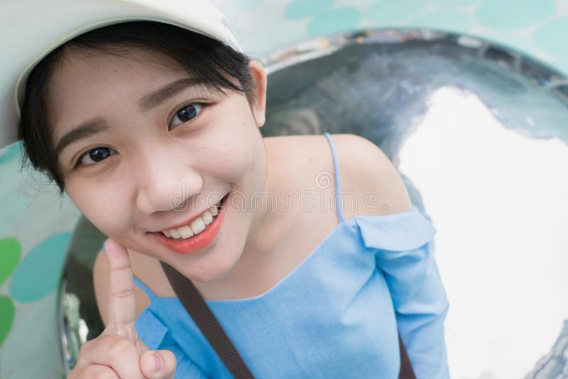 Cute young asian Thai teen smile. Happy good dental health royalty free stock photos
