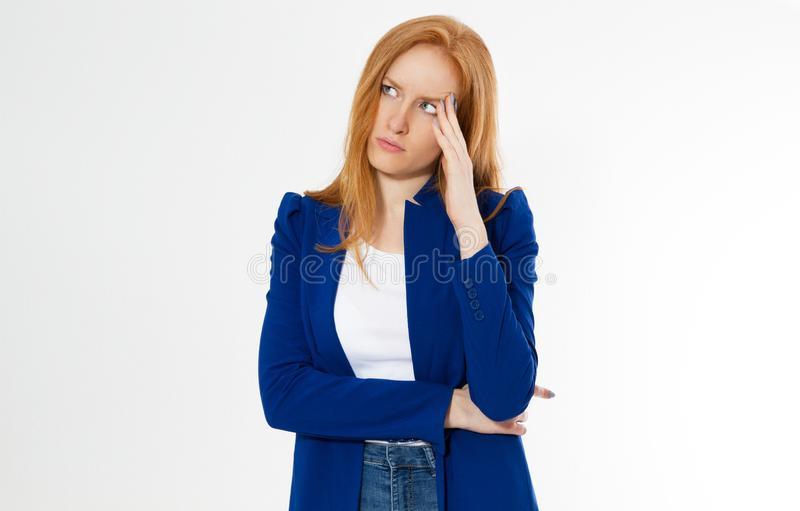 Cute, young beautiful red hair woman do facepalm. Redhead suffer girl headache failed to upset business face palm. Portrait of stock photos