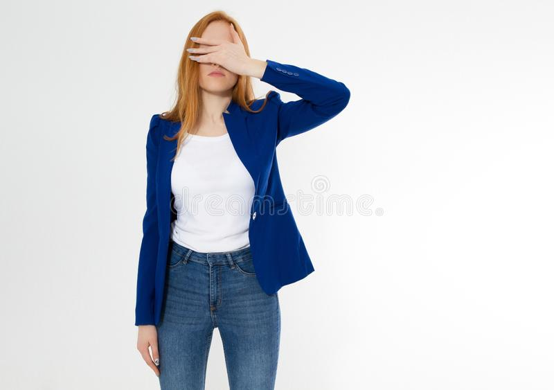 Cute, young beautiful red hair woman do facepalm. Redhead suffer girl headache failed to upset business face palm. Portrait of stock photography