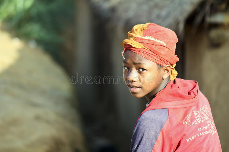 Cute young black African girl - poor child, madagascar royalty free stock photos