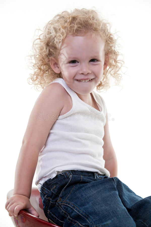 Cute young blond toddler jewish boy stock photography