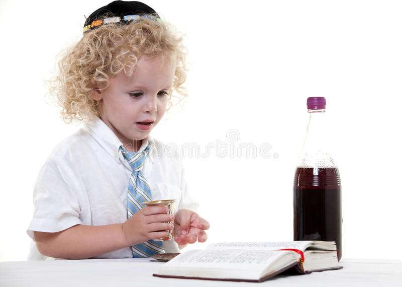 Cute young blond toddler jewish boy stock photo