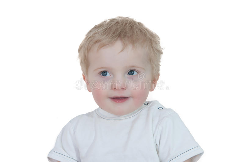 Download Cute Young Boy Looking Up On White Stock Image - Image: 17129255