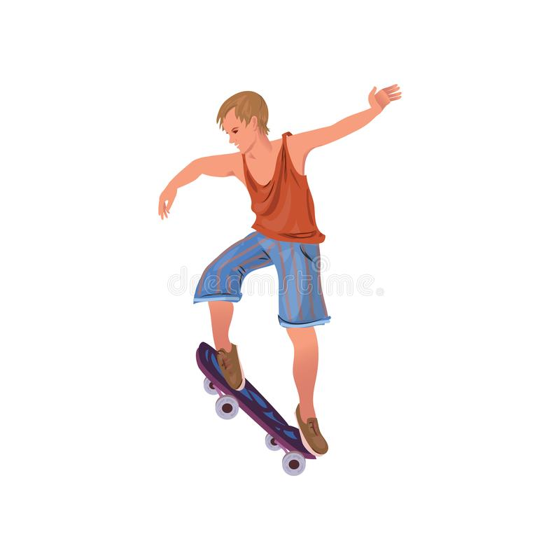 Cute young boy in summer shorts riding skateboard vector illustration