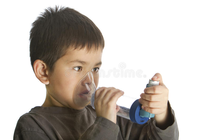 Download Cute Young Boy Using His Asthma Inhaler Stock Image - Image of drug, care: 16585035