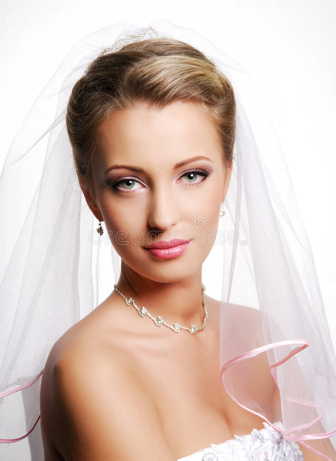 Cute young bride royalty free stock photo