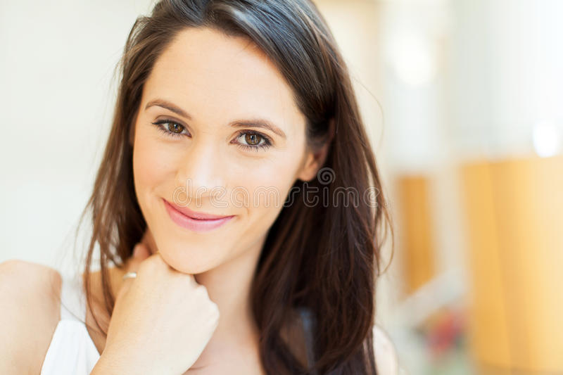 Cute young brunette stock image