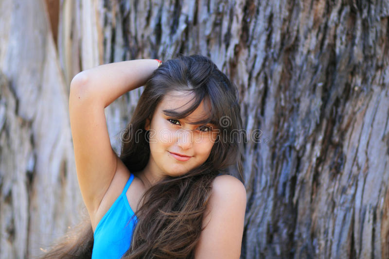 Download Cute young brunette girl stock image. Image of funny - 26057215