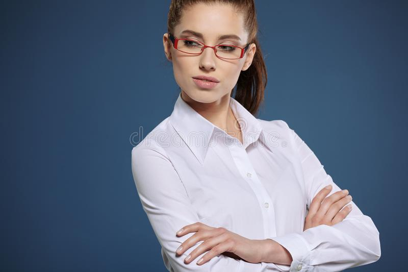 Cute young business woman with glasses royalty free stock images