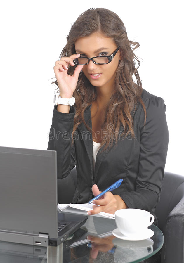 Download Cute Young Businesswomen At Her Desk Stock Image - Image: 21049311