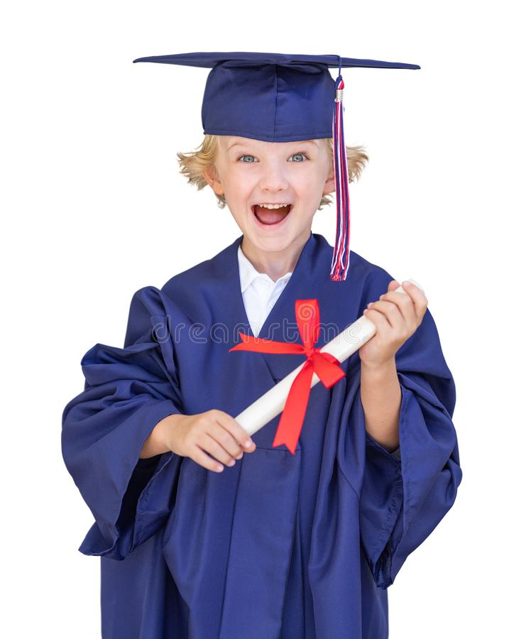 Cute Young Caucasian Boy Wearing Graduation Cap and Gown Isolated royalty free stock image