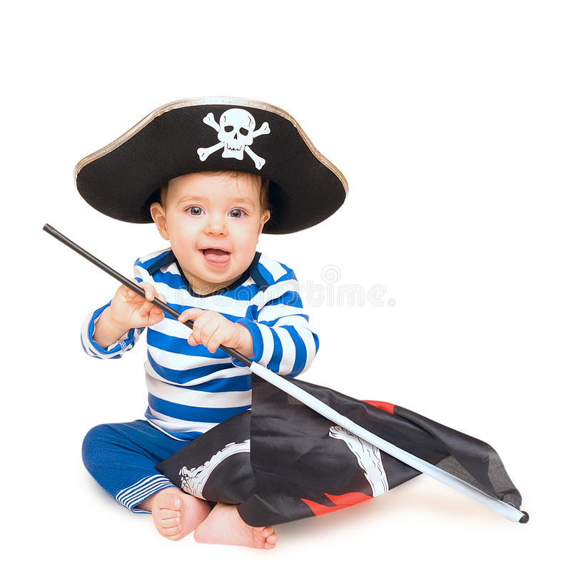 Cute Young Child Dressed As Pirate Over White Stock Photos