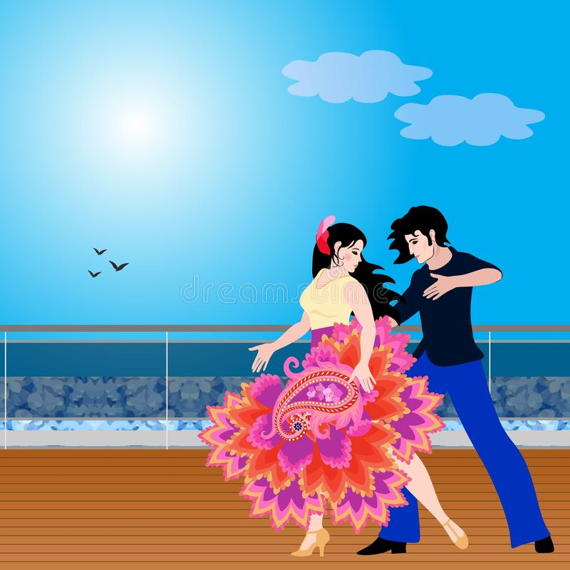 Cute young couple in love dancing tango on the deck of a ship or seafront.  vector illustration
