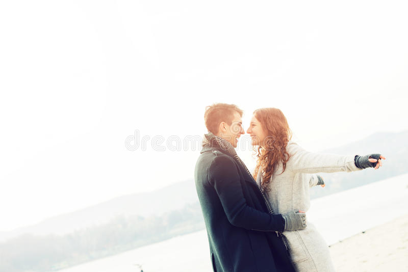Cute young couple in love, outdoors royalty free stock photos