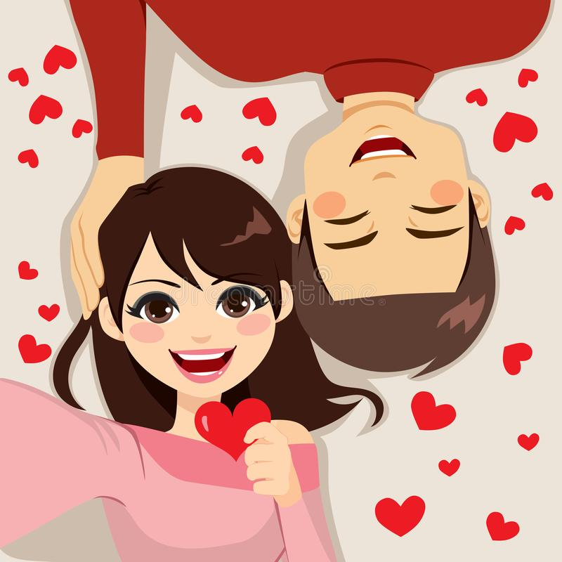 Selfie Couple Love. Cute young couple making selfie together lying on floor celebrating Saint Valentine day stock illustration