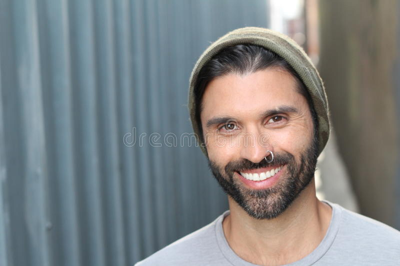 Cute young ethnic male close up royalty free stock photos