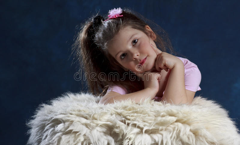 Download Cute young girl stock image. Image of child, long, furry - 18427655