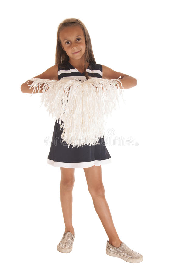 Cute young girl in blue cheerleader outfit stock image