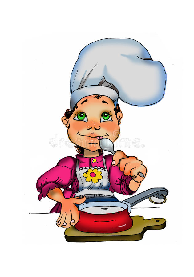 A Cute Young Girl Cooking. Royalty Free Stock Photos