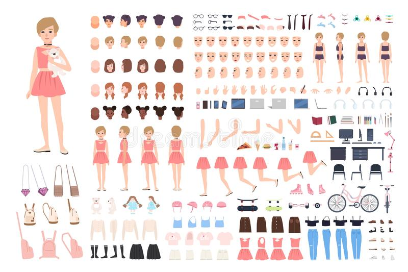 Cute young girl DIY or constructor kit. Bundle of body parts in different postures, facial expressions, girlish clothes. And accessories isolated on white royalty free illustration