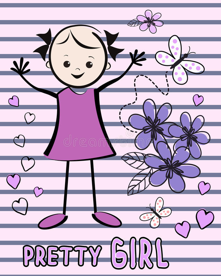 Cute young girl with flowers. T-shirt design. stock illustration