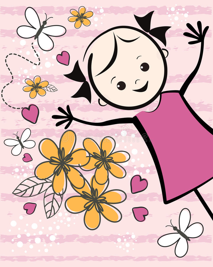 Cute young girl with flowers. T-shirt design. Vector illustration stock illustration