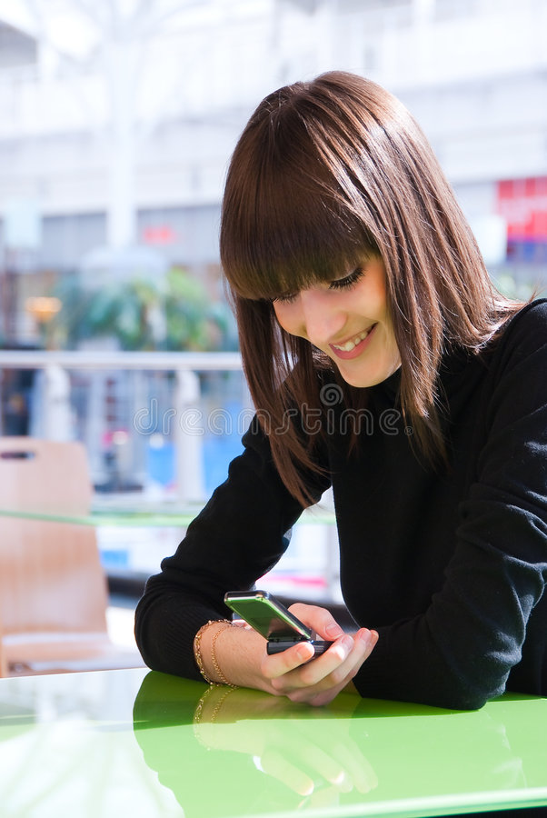 Download Cute young girl messaging stock image. Image of girl, happiness - 9151429