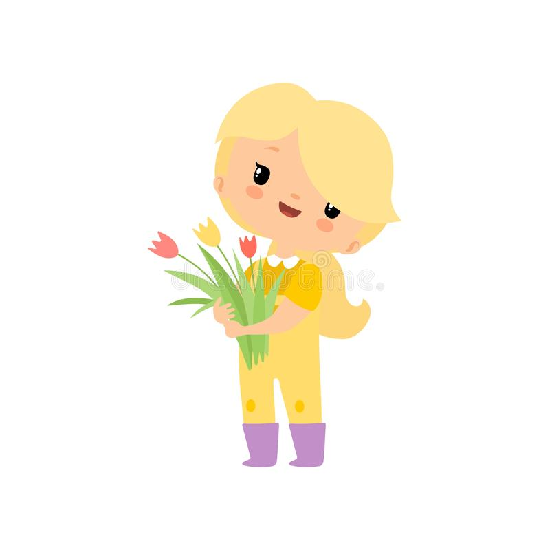 Cute Young Girl in Overalls and Rubber Boots with Bouquet of Tulips, Farmer Girl Cartoon Character Vector Illustration. On White Background vector illustration