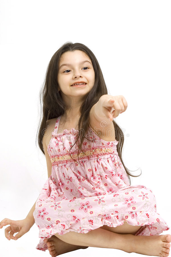Download Cute young girl pointing stock photo. Image of dark, looking - 4367042