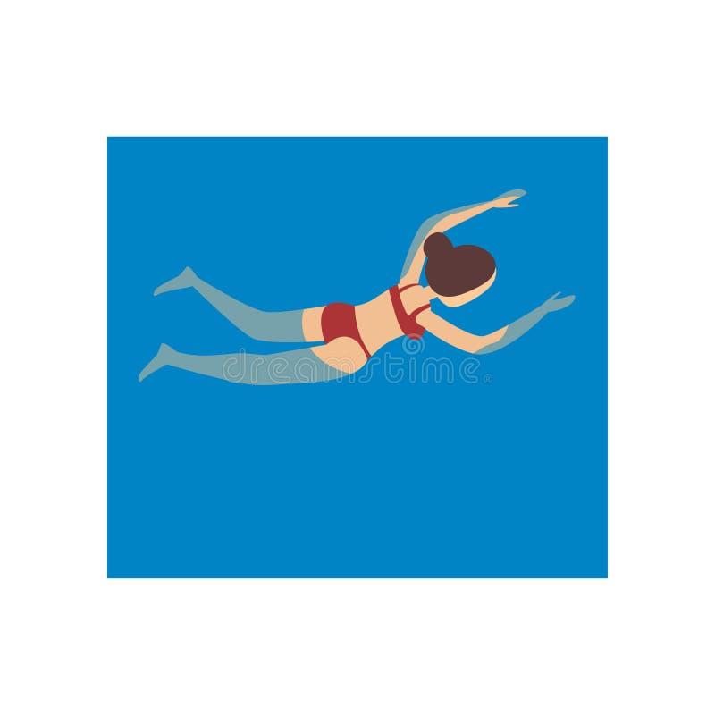 Cute young girl in red swimwear swimming in ocean stock illustration