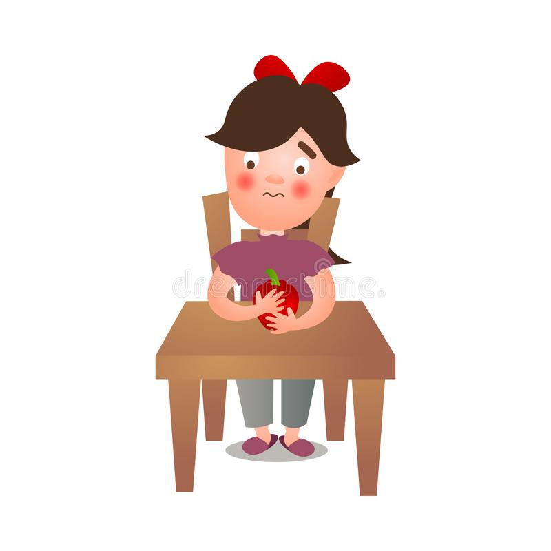 Cute young girl stay on kitchen and eat red fresh paprika stock illustration