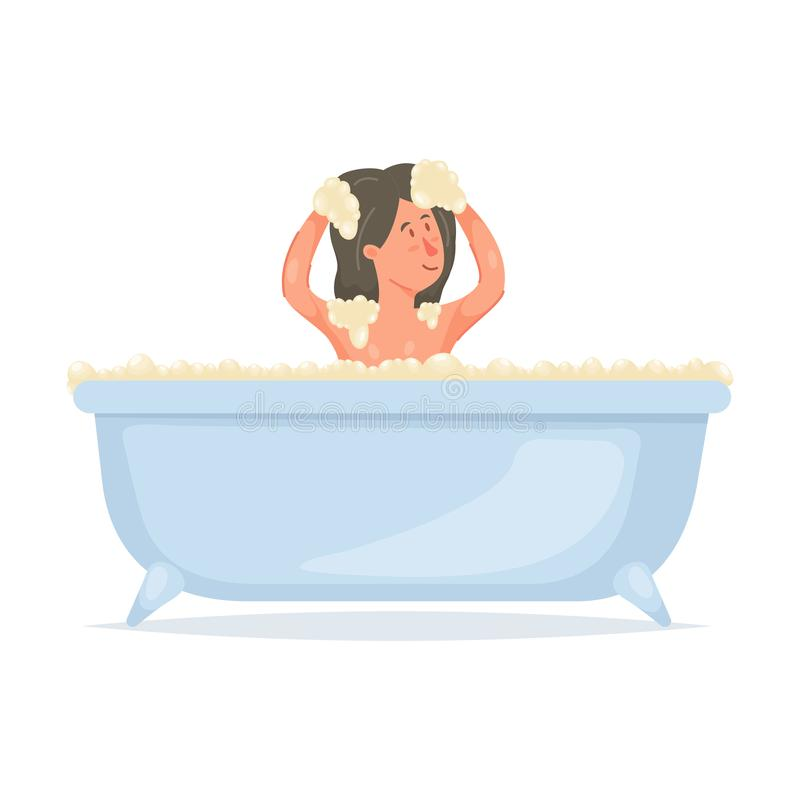 Cute young girl take bath, washing her head. With modern shampoo. Flat style. Vector illustration on white background vector illustration