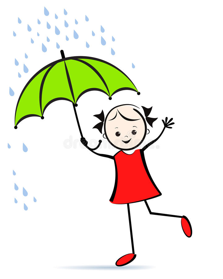 Cute young girl with umbrella. T-shirt design. vector illustration