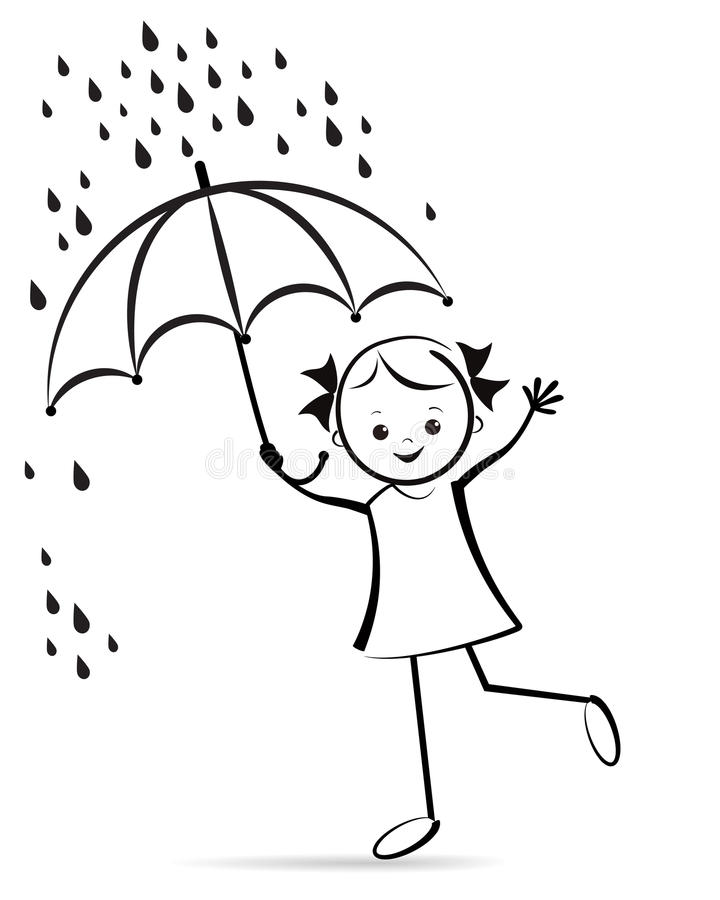 Cute young girl with umbrella. royalty free illustration
