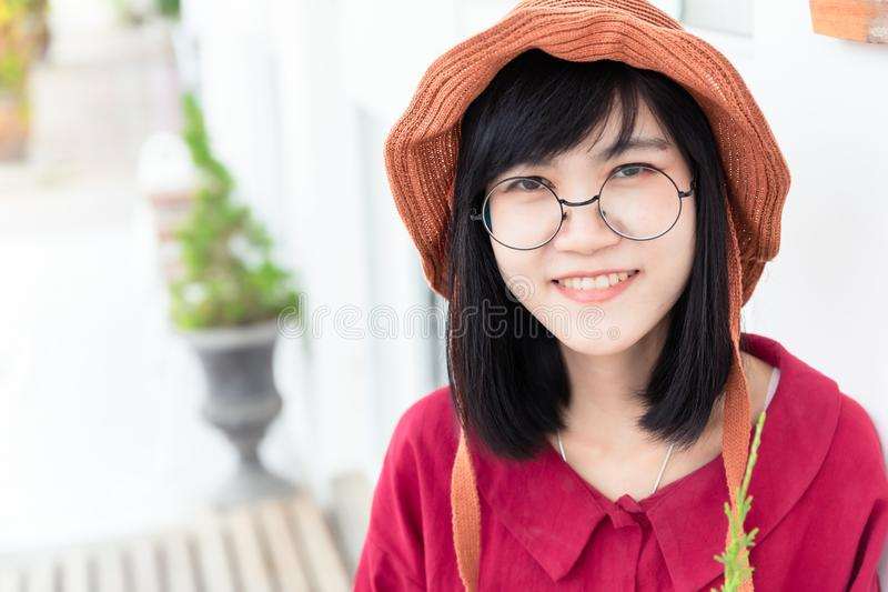 Cute young Glasses Asian Teen smile portrait royalty free stock photos