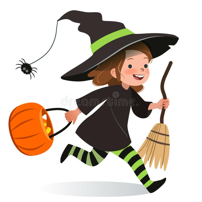 Cute young happy girl, running in Halloween witch costume with hat, black dress, stripy stockings, carrying broom and orange trick. Or treat basket. Halloween royalty free illustration