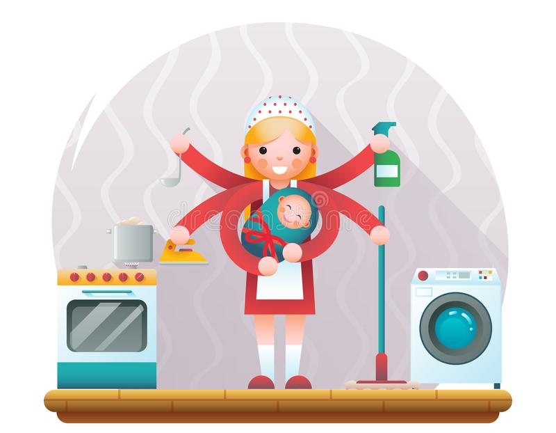 Cute young housewife with child accessories icons on home room interior background flat design concept template vector. Cute young housewife with child royalty free illustration