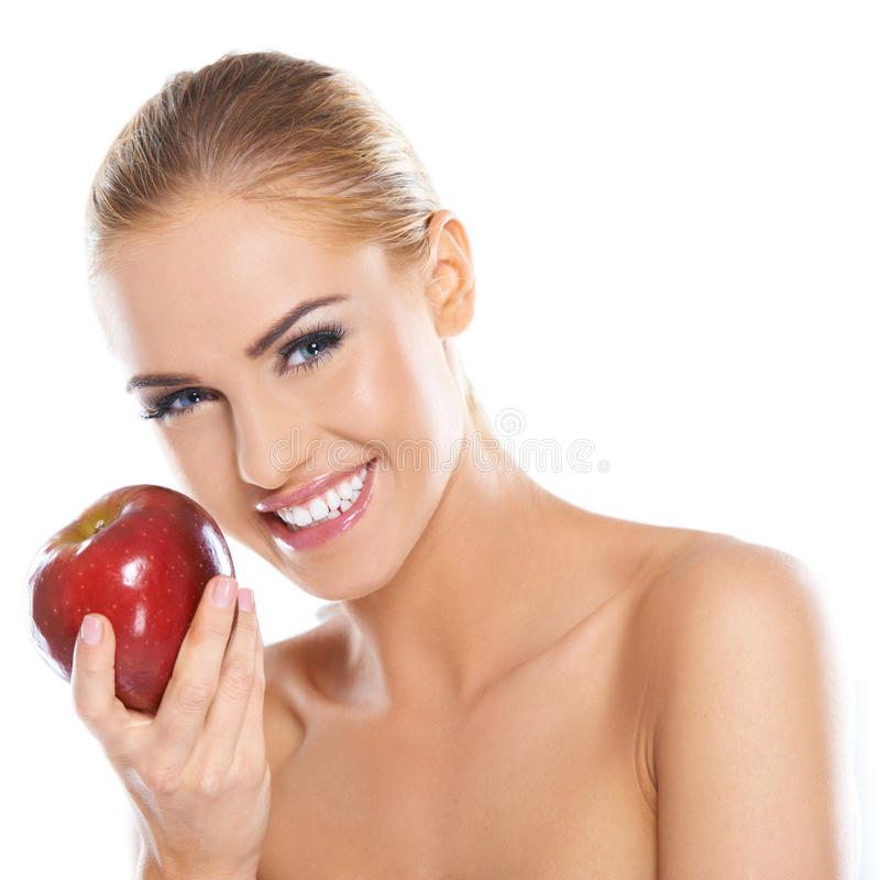 Download Cute Young Lady Holding Red Apple Stock Photo - Image of fashion, cute: 27250188
