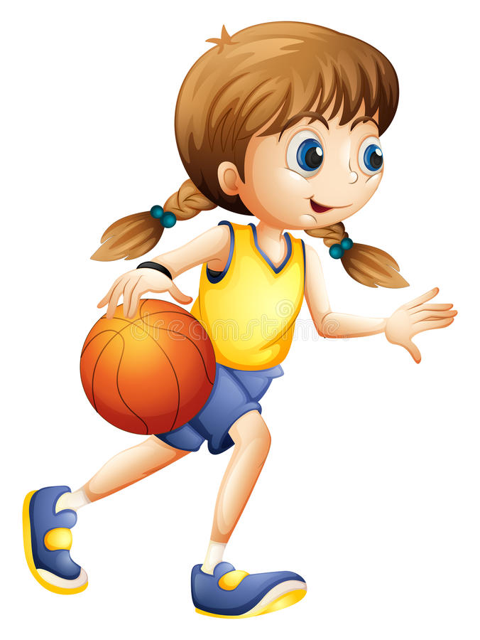 A cute young lady playing basketball royalty free illustration
