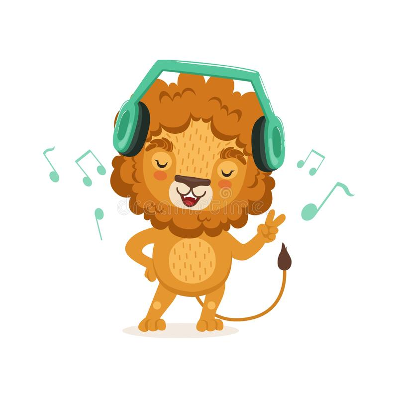Cute young lion cartoon character standing with paw up and listening to music through headphones. Vector flat stock illustration