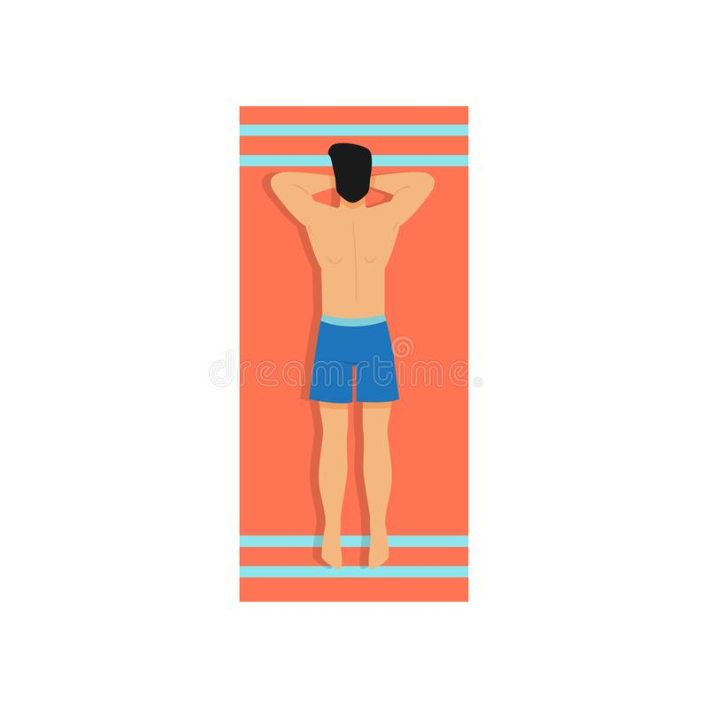 Cute young man in blue shorts take sunbathing on beach royalty free illustration