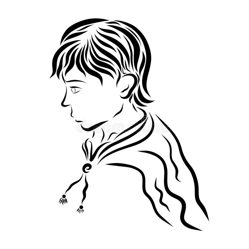 Cute young man in raincoat stock illustration