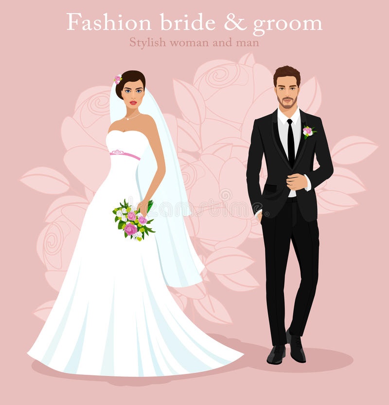 Cute young married couple: fashion beautiful bride with bouquet and handsome groom in stylish suit. Wedding set. vector illustration