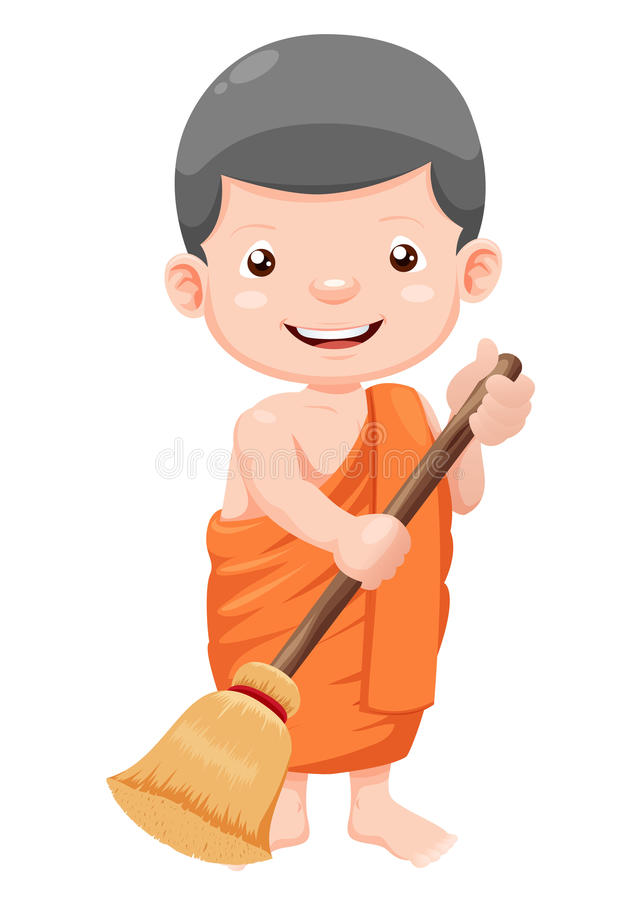 Cute young monk cartoon royalty free illustration