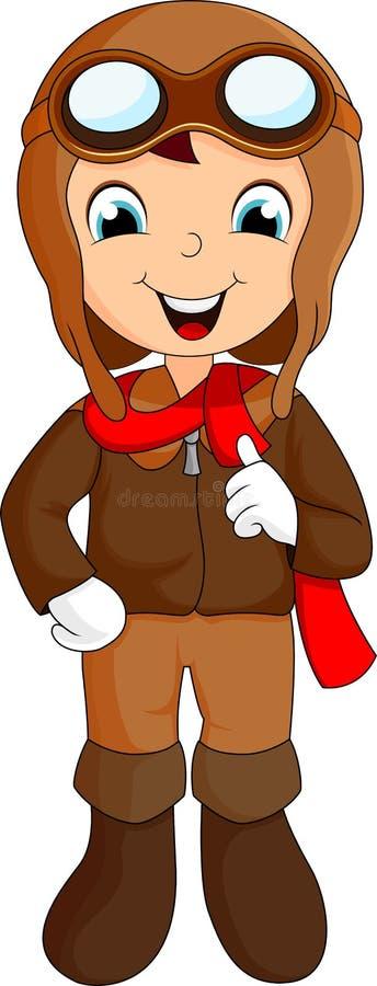 Cute Young Pilot Cartoon Stock Images