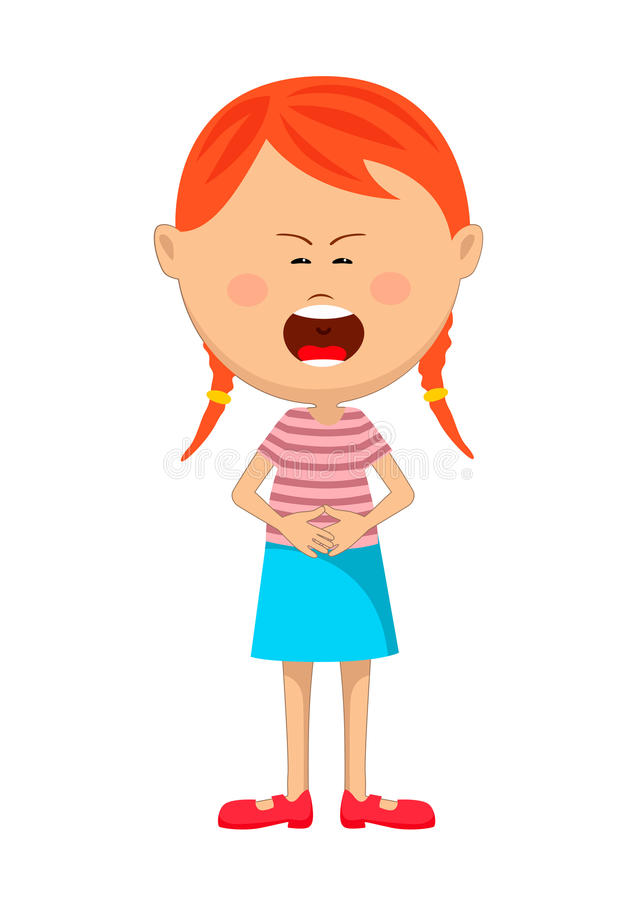 Cute young red haired girl with severe stomach ache or nausea crying vector illustration