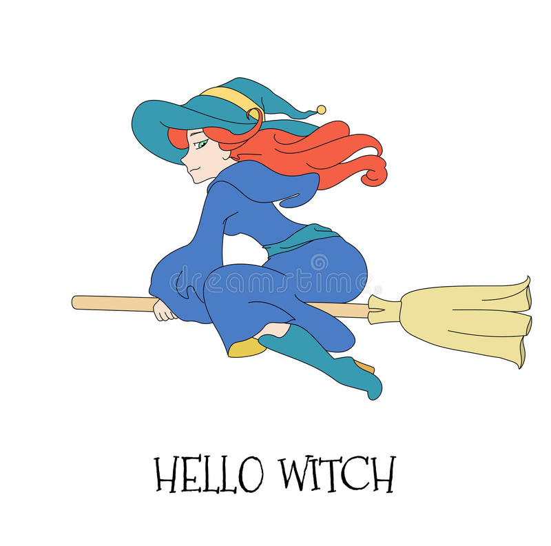 Cute young redheaded witch flying on a broom on a white background. stock illustration